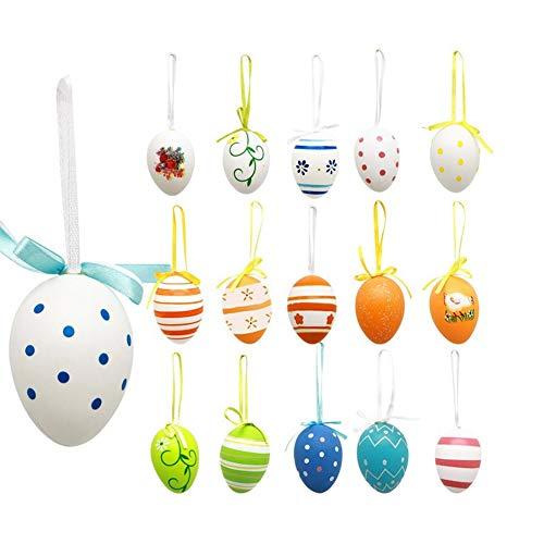 Balai 12 pezzi di uova di pasqua decorazione fatta a mano fai da te carino simulazione appeso ornamento (colore casuale)