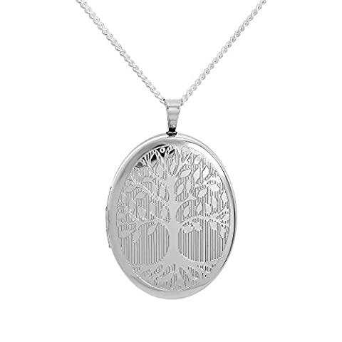 Sterling Silver Engraved Tree of Life Oval Locket on 18 Inches Chain