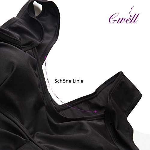 GWELL Damen Schwarz Bandage Hohe Taille Push-up-Bikinis Gepolsterter BH Badeanzug Badebekleidung Schwarz