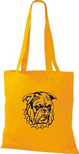 ShirtInStyle Stoffbeutel Hunde Motive Rasse Hund Lustige Tiere Züchter diverse Farbe yellow