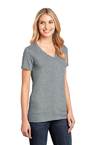 District Made Damen Asymmetrischer T-Shirt Heathered Nickel