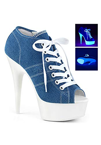Pleaser DELIGHT-600SK-01 Denim Blue Canvas/Neon White UK 6 (EU 39)