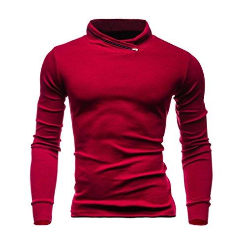 Longra Herren Sweatshirt Langarmshirt Pullover Herren Warm Basic Herbst Winter feste Sweatshirts Oversize Pullover Tops Bluse (Red, 2XL) (Shorts Custom Baumwolle Fit)