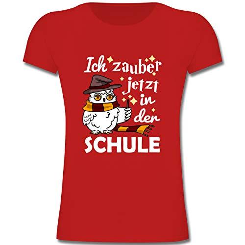 Eule Kostüm Rote - Einschulung und Schulanfang - Ich zauber jetzt in der Schule Eule mit Zauberstab - weiß - 140 (9-11 Jahre) - Rot - F131K - Mädchen Kinder T-Shirt
