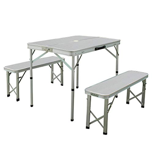CHENGGUO Table de Pliage extérieure portative argentée et chaises Table de BBQ et Table Pliante en Aluminium de Table de Pliage de Table