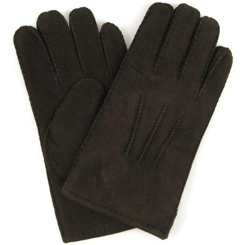 Herren-Luxus-Lammfell Handschuhe. Kaffeebraun.