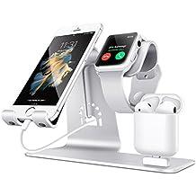Bestand Soporte [3 en 1] Apple iWatch Estante para, Punto cargador para Airpods, Apple Watch para iPhone 7/ 6s Plus, iPad en Plata