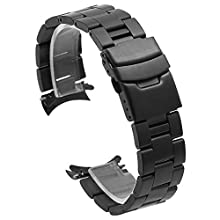 Black Curved End Watch Band 22mm Push Button Buckle Watch Replacement Band Taper Watch Strap Stainless Steel for Women Men