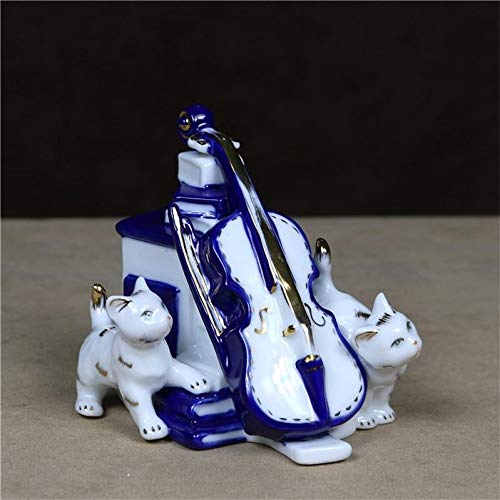 DAJIADS Figur Figuren Statuen Skulpturen Buddha Statue Statuette Vintage Porzellan Violine Cat Figurine Handgefertigte Keramik Kitty Miniatur Pet Neuheit Einrichtung Kunst Und Handwerk Musik Ornament -