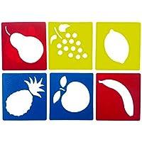 1set Plantilla práctico Tablero de Dibujo y Pintura Lavable de Bricolaje Plantillas de Dibujo para niños educativos Plantillas (Fruta)