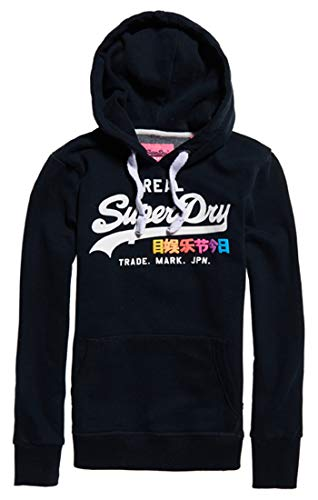 Superdry Women's Vintage Logo Pop Entry Hood Jumper, Blue (Eclipse Navy 98t), Small (Size: 10)