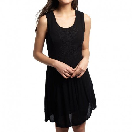 Robe Noir Robe Sheer Lacy Sweep Dress Femme Superdry Noir