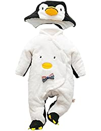 Deylaying Recién nacido Bebés Niños Pingüino Traje Romper Monos Infantil Encapuchados Manga Larga Algodón Jumpsuit Invierno Otoño Ropa