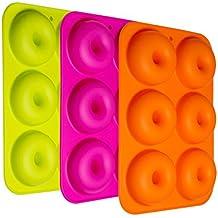 HBlife 3 pack Donutform Besondere Backformen Silikon Donut Formen Antihaft-Safe Backblech Pan Hitzebeständigkeit für Kuchen Keks Bagels Muffins-Orange, Rose Red, Grün