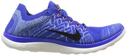 Nike Free 4.0 Flyknit, Running Femme Bleu (Racer Blue/Black/University Blue/Hyper Orange)