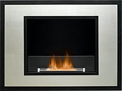 The Cuadro Wall Mounted Bio Ethanol Fire in Black and Stainless Steel, 32 Inch
