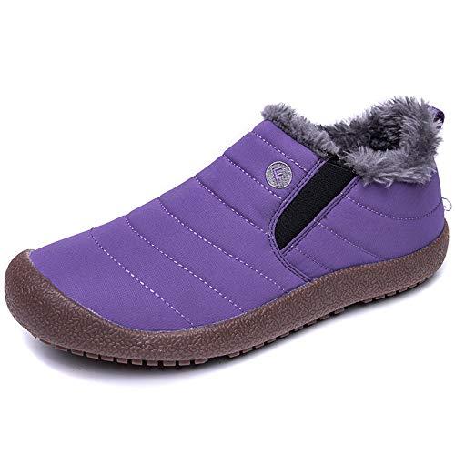 LOVDRAM Stiefel Männer Winter Rutschfeste Wasserdichte Schnee Stiefel Baumwolle Stiefel Herren Baumwolle Schuhe Herren Winter Warme Dicke Herren Stiefel, Lila, 48