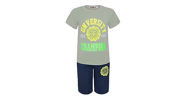Garçons 2 Pièces T-Shirt /& Ensemble Short University Champion Enfants Été Kit