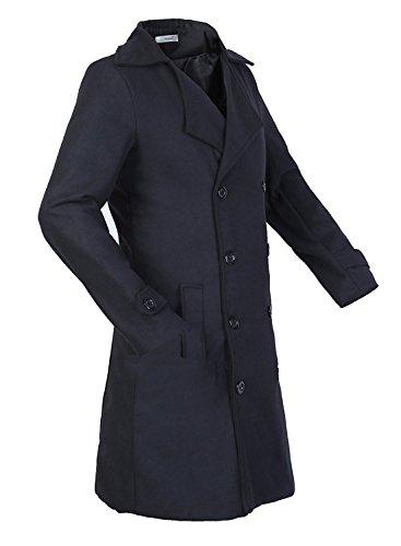 Partiss décontracté pour homme Mi-LONG Trench en laine Noir - Noir