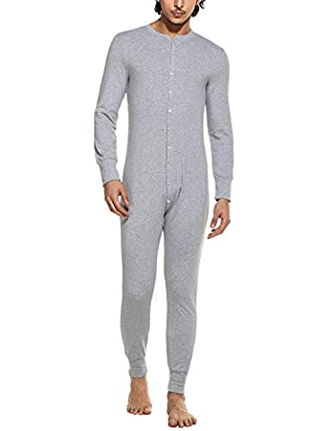 HOTOUCH Men's Top&Bottom in Onesies Midweight Slim Wicking Union Light Gray XXL