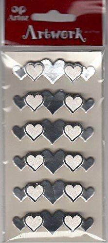 Artoz Artwork 3D Motiv-Sticker 185570-58, 'Bordüre Herzen gold', aus Spiegelkarton, mit weißem Herz verziert