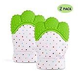 Hangnuo 2 Pack Baby-Handschuhe für Säuglinge-Kleinkinder Crinkle Toys Zahn Handschuh Handschuhe Zahnfleisch Schmerzlinderung, Grün