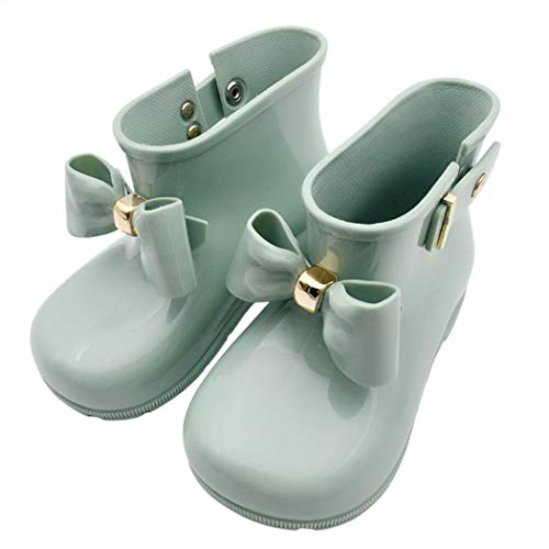 HOOH Toddler Rainboots Little Kids Solid Children Waterproof Wellington Boots Big Bows Button Glitter Candy Color Water Shoes