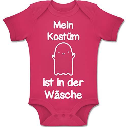 Shirtracer Anlässe Baby - Mein Kostüm ist in der Wäsche Gespenst - 12-18 Monate - Fuchsia - BZ10 - Baby Body Kurzarm Jungen Mädchen (Einfache Gruppe Ideen Halloween-kostüm 2019)