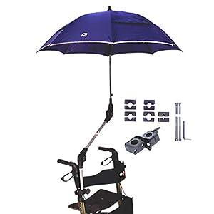 """MPB® Rollatorschirm 99 BR (PASSEND FÜR 99% ALLER ROLLATOREN!), Regenschirm und Sonnenschirm, blau-reflektierend, mit 2 Verstellgelenken, Mikrofaser-Schirm mit""""Air-Vent System"""", inkl. Schirmhülle"""