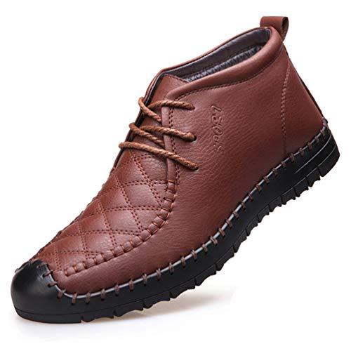 XI-GUA Herren Freizeit Schuhe Bequeme warme weiche Schuhe Flache Rutschfeste Arbeits Schuhe - Kreuz-western-stiefel