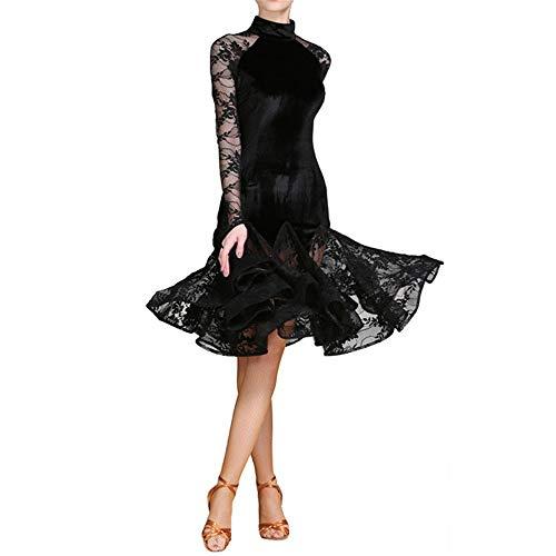 Yhjklm Frauen Stehkragen Spitze Splice Professionelle Lyrical Latin Dance Kleid Damen Langarm Rüschen Ballsaal Performance Dancewear Kostüm Abendkleid Kleid für Frauen (Farbe : Schwarz, Größe : XXL)