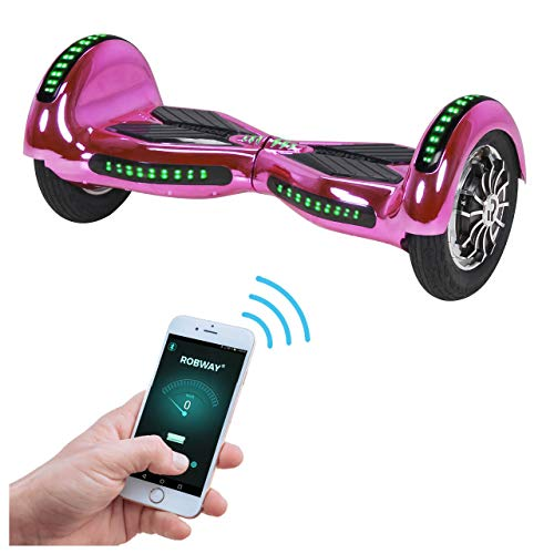 Robway W3 Hoverboard - Das Original - Samsung Marken Akku - Self Balance - 21 Farben - Bluetooth - 2 x 400 Watt Motoren - App - LED (Pink Chrom)