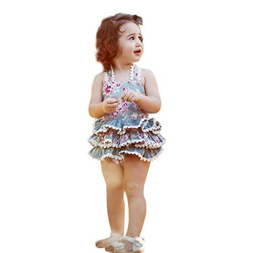 squarex Kleinkind Baby Mädchen Floral Bedruckte Overall Quaste Tops Bodysuit Romper ärmellose Overall Sling Kleid Kleidung rückenfrei ()
