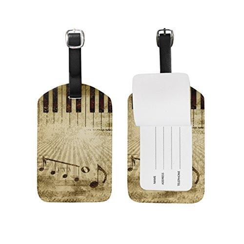 ALAZA Tasto di pianoforte della nota di musica d'epoca Etichetta bagaglio pu borsa di pelle Tag valigie di viaggio ID identificativo del bagaglio Etichetta