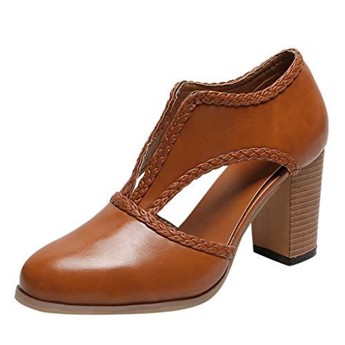 Makefortune-Schuhe Damen Plus Size Sandalen Ankle Boots, Damen Fahsion Vintage Lederschuhe, Closed Toe High Block Chunky Sandaletten, Slip-on aushöhlen Sandale (Lila Und Gelb Nike Schuhe)