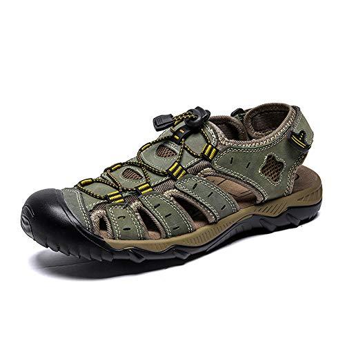 Sandalen Herren Durable Sommer Leder Schuhe Robuste Futter Velcro Straps Flip-Flops Für Frühling Reisen,002,13 Velcro-strap Sandalen