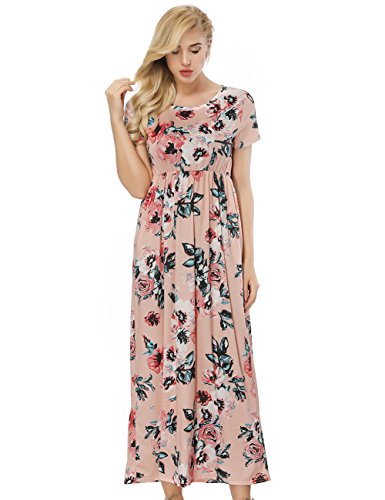 ORICSSON Floral Maxi Dresses for Women Summer Boho Long Summer Short Sleeve Beach Party Dresses with Pockets (Pink) UK Size 18-20/XL