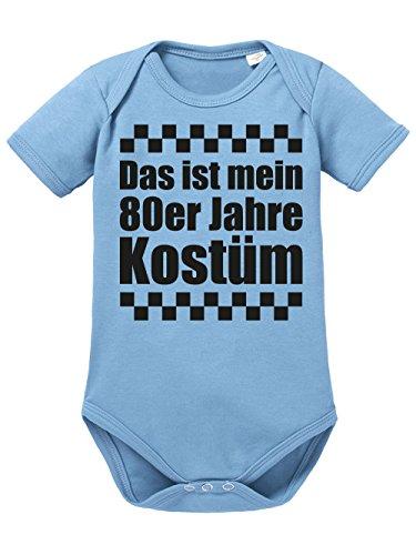 clothinx Baby Body Unisex Karneval Das ist Mein 80er Jahre Kostüm Himmelblau/Schwarz Größe 86-92