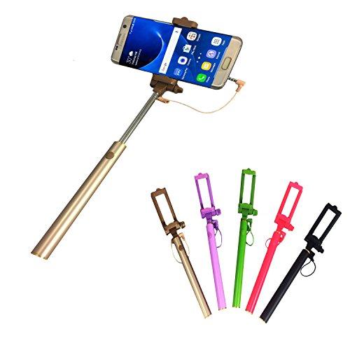 Selfie Stick | für MEDION LIFE E5020 | mit integriertem Selbstauslöser | ohne Akku | Mini und Zeitlos | Selfies 1 Gold