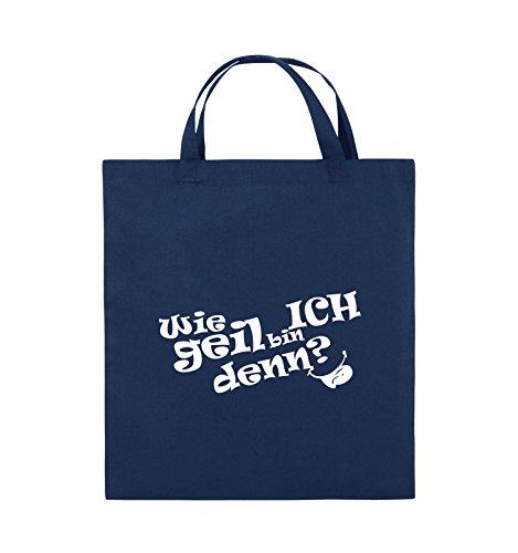 Comedy Bags - Wie geil bin ICH denn? - ZUNGE - Jutebeutel - kurze Henkel - 38x42cm - Farbe: Schwarz / Pink Navy / Weiss