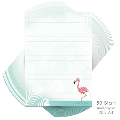 Writing Paper Flamingo 50 Sheets Din A4 Lined Writing Paper Girl