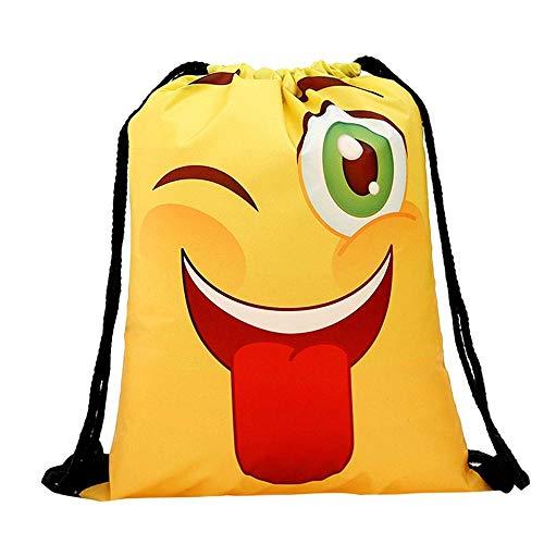Emoji Turnbeutel, YEBIRAL Drucken Rucksack Party für Kindergeburtstag Geschenktüte Mitbringsel Geschenktaschen Smiley Geburtstagsfeier Partytüten