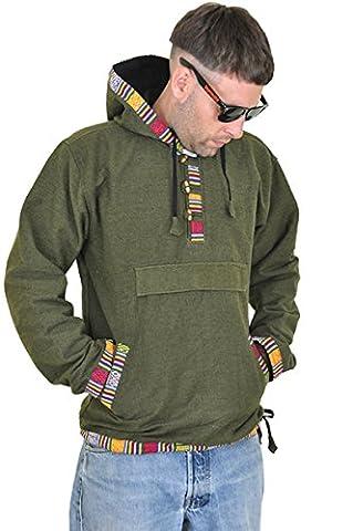 Hoodie Kapuzenpullover mit Ethno Muster als alternative Kleidung von virblatt Grün,L/XL (Nepal Herren Hoodie)