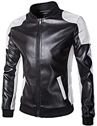 BUSIM Men's Long Sleeved Leather Autumn Winter Leisure Stand Multi-Color Round Neck Zipper Stitching Slim Fashion...