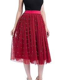 Qmber Tüllrock Damen 50er Rockabilly Petticoat Vintage Spitze Organza Unterrock Blase Ballett Tütü Rock Crinoline, Größe Größe Perle Mesh gefaltete Prinzessin Rock Bubble Skirt