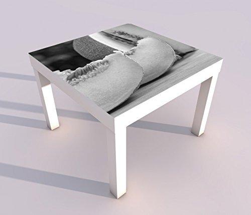 Design - Tisch mit UV Druck 55x55cm schwarz weiss Melone Honigmelone Obst Küche Essen Spieltisch Lack Tische Bild Bilder Kinderzimmer Möbel 18A2223, Tisch 1:55x55cm