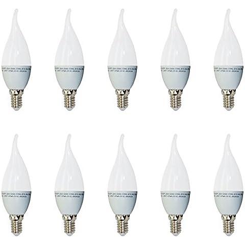 Pack de 10 - 4164 - V-TAC - Bombilla LED Vela con punta curvada - Casquillo ?14 - consumo 4W (equivalente a 30W) - luz blanca cálida (2700K) - 320 lm - angulo de iluminacion