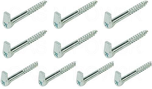 Schraubhaken mit Kreuzschlitz, strapazierfähig, verzinkter Stahl, 5,2 x 50 mm, 10 Stück