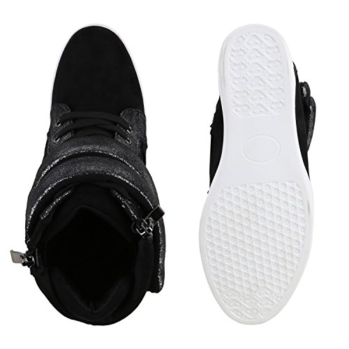 Damen Sneakers Keilabsatz Sneaker-Wedges Zipper Glitzer Schwarz