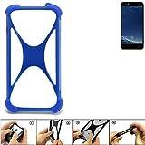 K-S-Trade Bumper für M-Horse Power 2 Silikon Schutz Hülle Handyhülle Silikoncase Softcase Cover Case Stoßschutz, blau (1x)